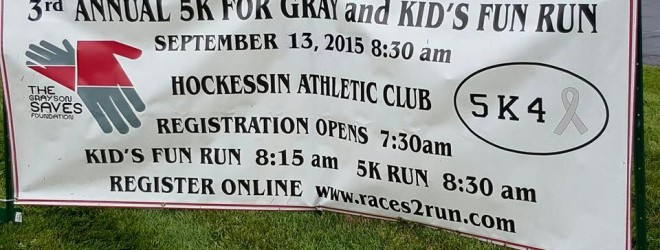 Register Online, 5K for Gray 9/13/15